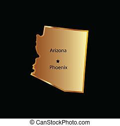 guld, arizona tillstånd, karta