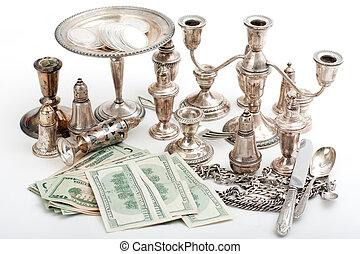 guld, avfall, dollar, kontanter, hög, silver