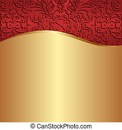 guld, baggrund, rød