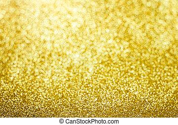 guld, bakgrund., abstrakt, gnistra, bokeh, glitter, jul