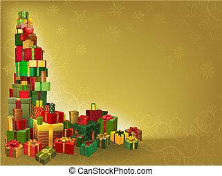 guld, bakgrund, gåva, jul