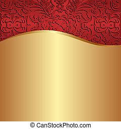 guld, bakgrund, röd
