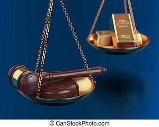guld barrikaderar, med, trä auktionsklubba, på, den, vägar