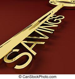 guld, besparingar, tillväxt, nyckel, föreställa, investering