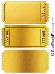 guld, billetter, stubs, isoleret, på hvide, hos, udklip sti,...