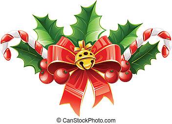 guld bjällra, bladen, bog, dekoration, järnek, jul, röd
