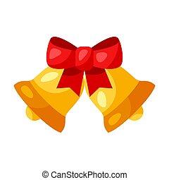 guld, bow., illustration, sätta en klocka på