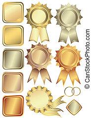 guld, bronce, rammer, sæt, sølv