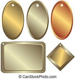 guld, bronce, (vector), counters, sølv