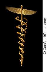 guld, caduces, på, sort