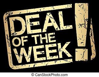 guld, deal, tekst, uge, frimærke