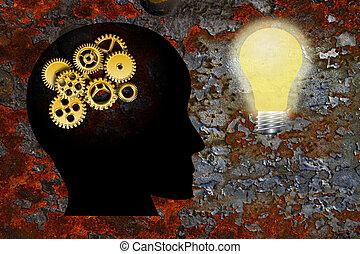 guld, det gears, menneske hovede, lightbulb, grunge,...