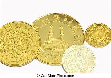 guld, dinar, och, siver, dirham