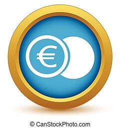 guld, euro, mynt, ikon