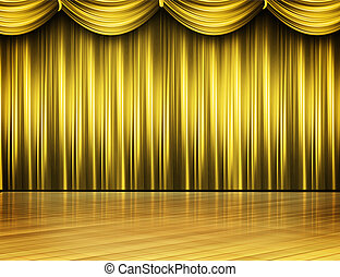 guld, färgad, arrangera, teater