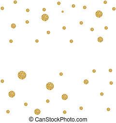 guld, glitter, bakgrund, punkt, abstrakt, confetti., illustration, polka