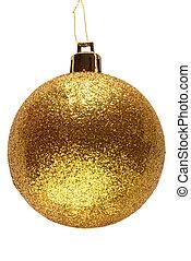 guld, glitter, jul, ball., struntsak
