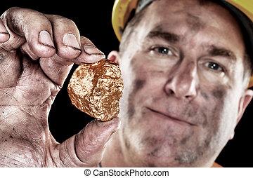 guld gruvarbetare, med, guldklimp