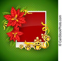 guld, hälsning, julstjärna, klingande, blomningen, julkort, sätta en klocka på