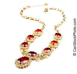 guld halsband, med, ädelsten, isolerat