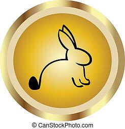 guld, ikon, kanin