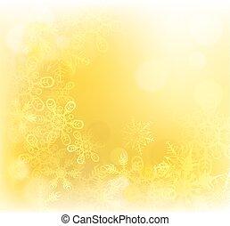 guld, jul, bakgrund, snöflingor
