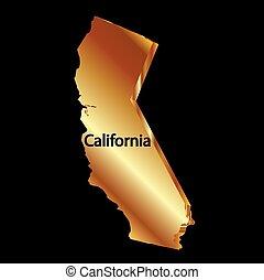 guld, kalifornien tillstånd, 3, vektor, karta