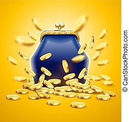 guld, klassisk, vinhøst, mønter, pung, luksus, penge
