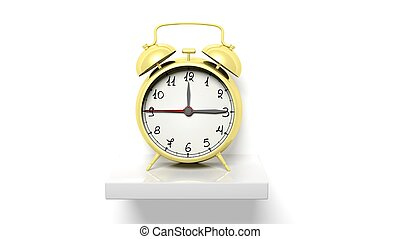 guld, klocka, vägg, hylla, alarm, retro, vit