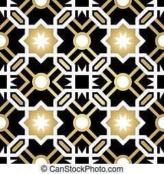 guld, mönster, abstrakt, keramisk, seamless, tegelpanna
