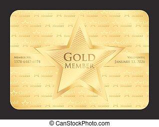 guld, medlem, klubba, kort, med, stor stjärna