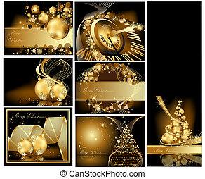 guld, merry, baggrund, jul