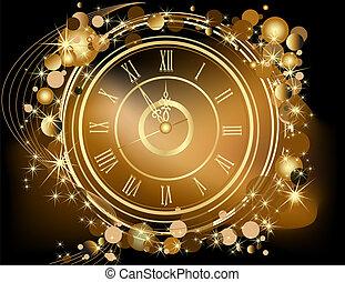 guld, nytt år, bakgrund, lycklig