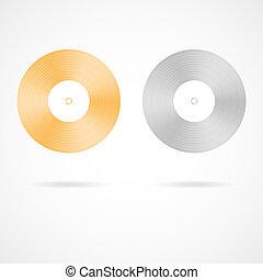 guld, och, platina, vinyl tecknar uppe