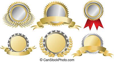 guld, och, silver, pris remsa