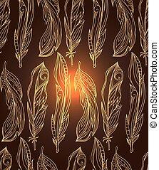 guld, pattern., mönster, stam, fjäderrar, seamless, hand, klotter, bakgrund., boho, vektor, creativity., oavgjord, element, din