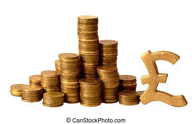 guld peng, med, sterling, undertecknar