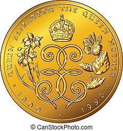 guld, pengar, dollar, bermuda, vektor, mynt