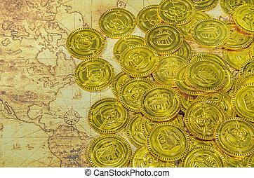 guld, sjörövare, mynt