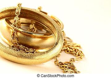 guld smycken, armband, och, ker