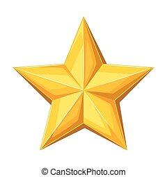 guld, star., illustration, realistisk, bakgrund, vit