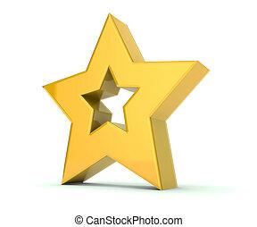 guld stjärna, 3 dimensionella, bakgrund