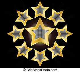 guld stjärna, etikett, vektor, illustration