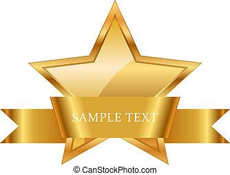 guld stjärna, pris, med, glänsande, band