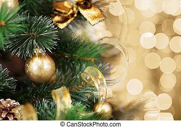 guld tänd, träd, suddig fond, jul