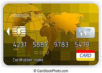 guld, tävla, kreditera, vektor, främre del, kort