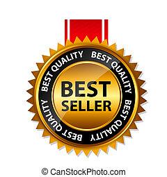 guld, underteckna, säljare, vektor, mall, etikett, bäst