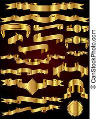 guld, vektor, bånd, samling