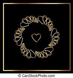 guld, vektor, hjärta, svart, element, blomma