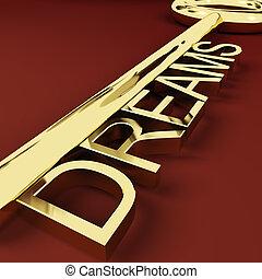 guld, visions, nyckel, förtröstan, föreställa, drömmar